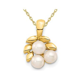 White Freshwater Cultured Pearl 3-4mm Pendant Necklace in 14K Yellow Gold with Chain
