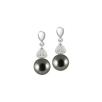 Wieczne kolekcji Solitaire srebrny perłowy srebrny odcień Drop kolczyki Kolczyki