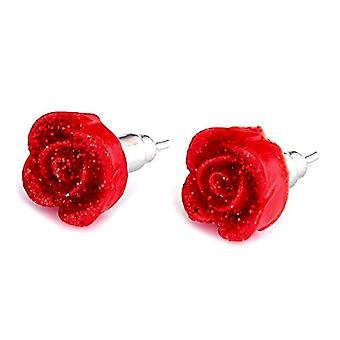 Röd ros harts stud örhängen med dagg droppar