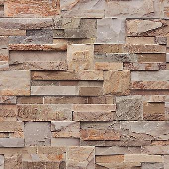 3D Effect Natural Slate Tile Brown Orange Wallpaper Brick Stone Embossed