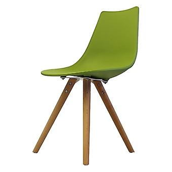 Fusion Living Iconic Green Plastic Dining Chair With Light Wood Legs