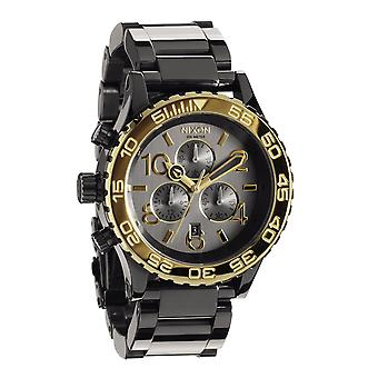Nixon die 42-20 Chrono All schwarz Gun n Gold Herrenchronograph (A0371228)