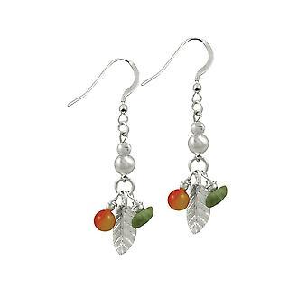 Ewige Sammlung Woodlands Jade und orangefarbenen Achat Sterling Silber Tropfen Ohrhänger