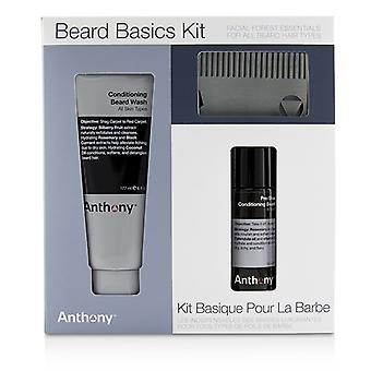 Anthony Beard Noțiuni de bază Kit: 1X conditionat spalatorie barba 177ml, 1X pre-Shave + conditionat ulei de barba 59ml, 1X barbă pieptene 3pcs