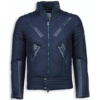 Padded men's winter jacket-motorcycle jacket-Duck Down-Blue