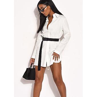 Botón a través de algodón de gran tamaño camisa vestido blanco