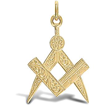 Jewelco Londen mannen ' s solide 9ct Yellow Gold Masonic Square kompas hangertje