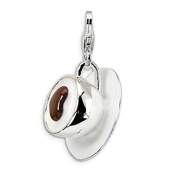 925 Sterling Silver Solid Polished Rhodium plated Fancy Lobster Closure 3 D Enameled Cappuccino With Lobster Clasp Charm