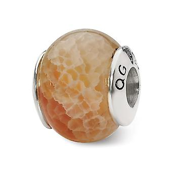 925 Sterling Silver Polished finish Reflections Peach Cracked Agate Stone Bead Charm Pendant Necklace Jewelry Gifts for