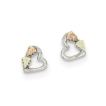 925 Sterling Silver Polished and satin and 12k Small Love Heart Post Earrings Jewelry Gifts for Women