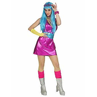 Disco dans mini jurk vrouwen kostuum 70s pop partij kostuum vrouwen roze carnaval thema Party