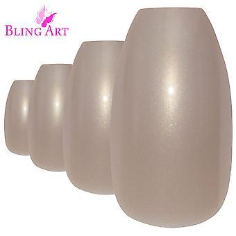 False nails by bling art beige glitter ballerina coffin fake long acrylic tips