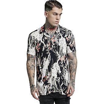 Sik Silk Black Lion Resort Short Sleeve Shirt Black 86