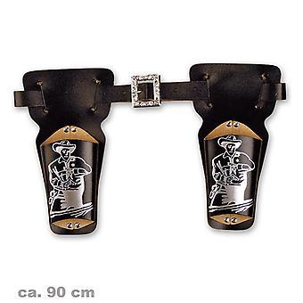 Revolver ceinture impression Gunslinger double Holster env. 90 cm cow-boy shérif du Far West