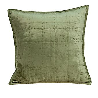"""20"""" x 7"""" x 20"""" Transitional Olive Solid Quilted Pillow Cover With Poly Insert"""