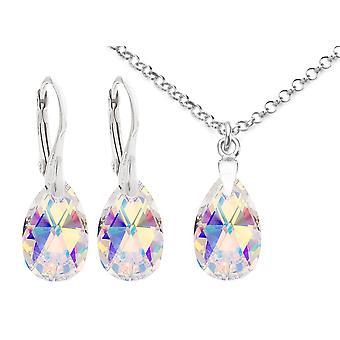 اه! مجوهرات بلورات فضية الاسترليني من سواروفسكي أورور بوريال الكمثرى مجموعة، مختومة 925