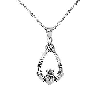 "Celtic Irish Claddagh Amore fedeltà e amicizia Teardrop collana ciondolo - Include un 20"" catena d'argento"