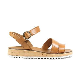 Paul Green 7496-00 Brown Leather Womens Ankle Strap Sandals