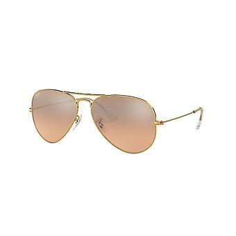 Ray-Ban Aviator RB3025 001/3E guld Arista/Crystal Brown Pink Silver Mirror solglasögon