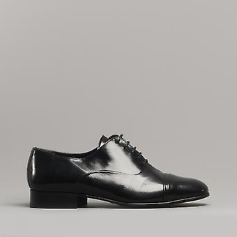 Shuperb Diego Mens Brevet Cuir Lace Up Cuban Heel Oxford Chaussures Noir