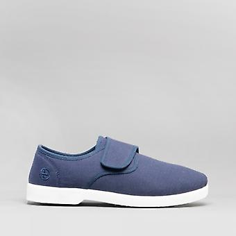 Dr Keller Rob Mens Canvas Wide Touch Fasten Deck Shoes Navy