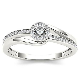 Igi certified natural 10k white gold 0.25 ct diamond halo bypass engagement ring