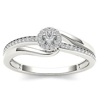 Igi-certifierad naturlig 10k vitt guld 0,25 ct diamant halo bypass förlovningsring