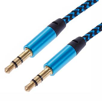 1m Vävd 3.5mm Aux Kabel - Blå