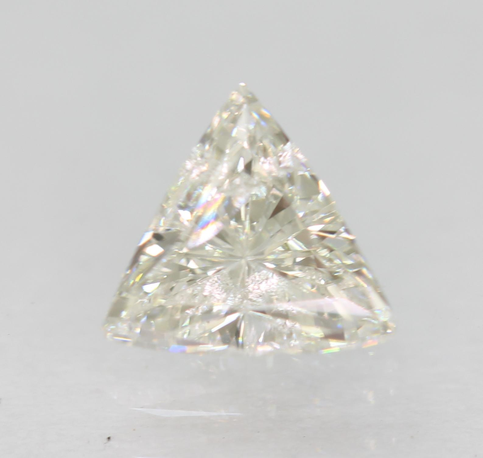 Certified 0.57 Carat F Color SI1 Triangle Natural Loose Diamond 6.12x5.64mm 2VG