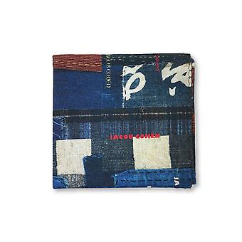 Jacob Cohen Pocket Square in blue/brown/white patchwork design