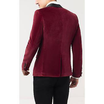 Twisted Tailor Herre Bourgogne Tuxedo middag jakke Skinny fit fløjl kontrast sjal revers