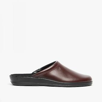Rohde 1550 Mens Leather Mule Slippers Wine Red