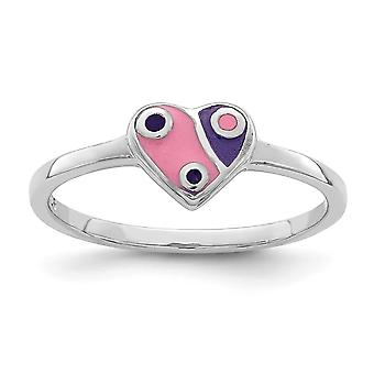 925 Sterling Silver Rhodium plated for boys or girls Enameled Pink Purple Love Heart Ring - Ring Size: 3 to 4