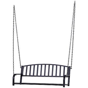 Outsunny Outdoor Garden Patio 2 Seater Metal Swing Chair Porch Balcony Bench Loveseat Minimalist Style - Black