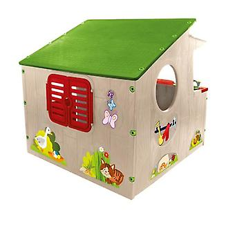Mochtoys 11392 Playhouse 139 x 118 x 120 cm, kitchen, window, indoors, outdoors