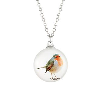 Eternal Collection Feathered Friends Robin Double Sided Glass Silver Tone Pendant