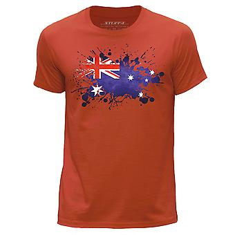 STUFF4 Men's Round Neck T-Shirt/Australian Flag/Orange