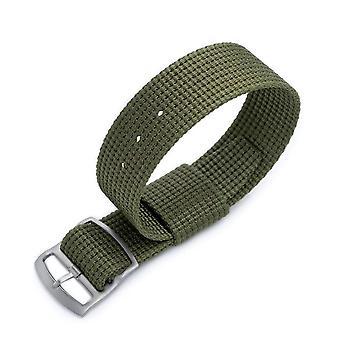 Strapcode n.a.t.o watch strap zulu g10 20mm or 22mm miltat raf n7 3-d woven military green, sandblasted ladder lock slider buckle