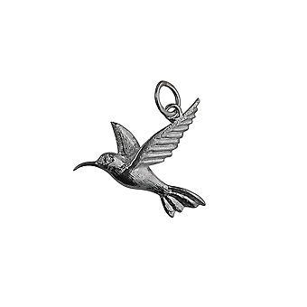 Silver 24x22mm Hummingbird Pendant or Charm