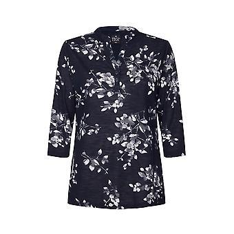 TIGI Blue Floral Notch Neck Tunic