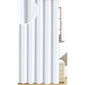 Satiini raita valkoinen Polyesteri designsuihku verho 180 x 180cm