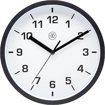 nXt - Wall clock - 20cm Ø - Plastic - Black - 'Easy Small'