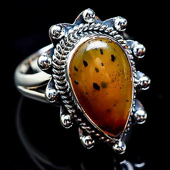 Montana Agate Ring Size 8.75 (925 Sterling Silver)  - Handmade Boho Vintage Jewelry RING3006
