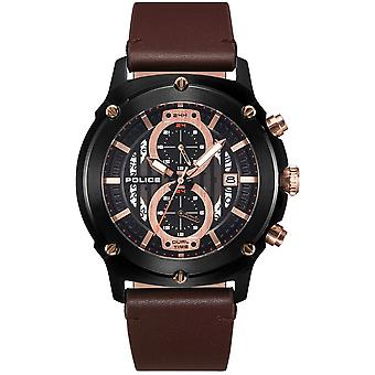 Police Watches Pl.15917jsb/02a Lulworth Rose Gold, Black And Brown Leather Men's Watch