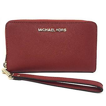 Michael kors jet set travel large phone wristlet scarlet red leather wallet