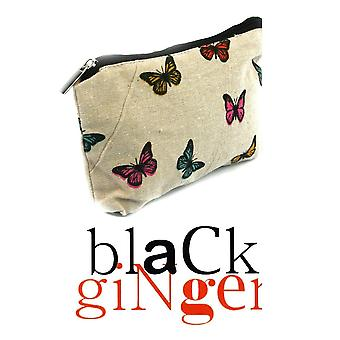 Black GingerCream Canvas Make Up Bag with Colourful Butterfly Design (640-...