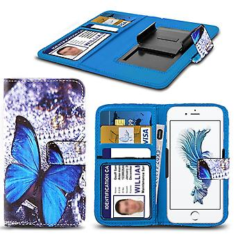 i-Tronixs Acer Liquid Z530 Case PU Leather Blue Butterfly Printed Design Pattern Wallet Clamp Style Spring Skin Cover- Blue Butterfly