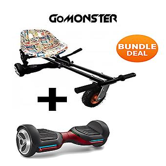 "6.5"" G PRO Red Bluetooth Hoverboard with Go Monster Hoverkart in Graffiti"