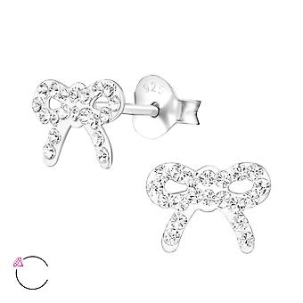 Bow - 925 Sterling Silver Crystal Ear Studs - W34568x