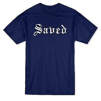 «Sauvé» blanc italique citation à travers la poitrine T-shirt homme